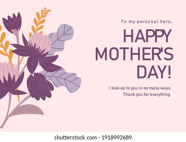 Mother`s day sweet card. Editable vector EPS 10