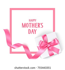 Mother's Day template design. Vector frame with gift box and pink bow and long ribbon. Holiday decorations.