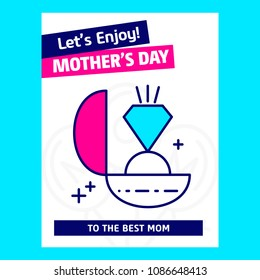 Mother's day typographic design with unique deisgn and blue them