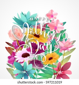 Mothers Day Typographical Background With Spring Flowers