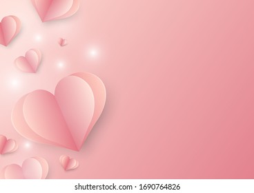 Mothers Day And Valentines. Hearts on pink background,Vector and illustration.
