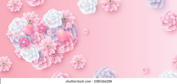 Mothers day and valentines wedding background concept design of flowers in hearts shape with copy space vector illustration