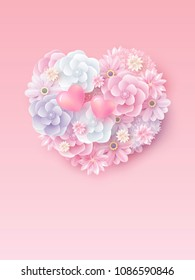 Mothers day and valentines wedding concept design of flowers in hearts shape with copy space vector illustration