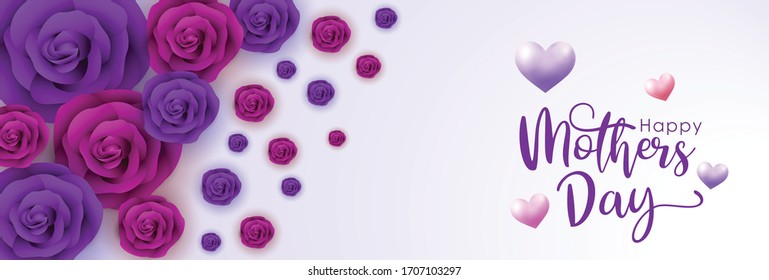 Mother's day vector banner, red rose, purple rose and heart on a white background. creative concept of mother's day celebration. copy space text, vector illustration.