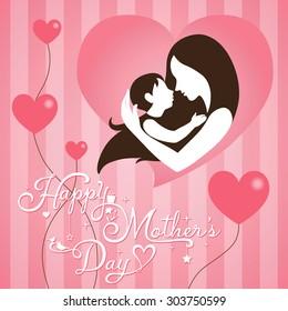 Mothers day vintage on pink stripe background