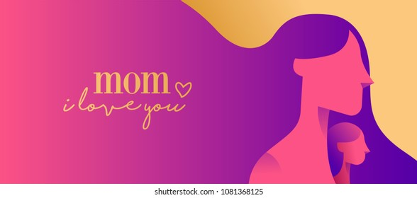 Mothers Day web banner illustration of mom and little child on pink color background with typography quote. EPS10 vector.