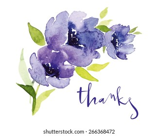 Mother's Day, wedding, congratulations, birthday. Postcard watercolor blue flowers.