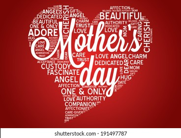 Mothers day word cloud tag concept in vector