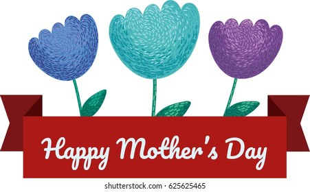 Mother's Day.Greeting card. Flowers and ribbon.Hand drawn vector illustration.