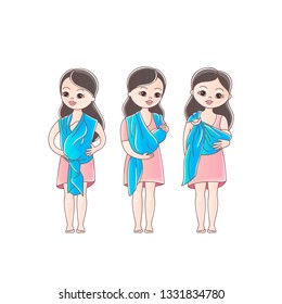 Mothers with his babies in sling scarf. Three positions of baby in sling scarf. Isolated on white background.