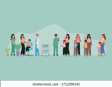 Mothers with kids vaccionation and doctors with masks against 2019 ncov virus design of Covid 19 Vector illustration