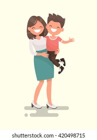 Mother's love. Mom and son. Vector illustration of a flat design