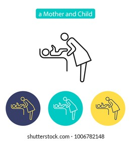 Mother's room sign. Mother swaddle baby icon on white background. Baby care room image. Public Navigation symbol for info graphics. Line style image. Editable stroke. Vector illustration.