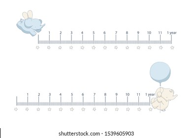 Mother's ruler of newborn's age with cute cartoon elefants on white background