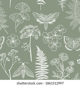 Moths, butterfly and grass seamless pattern. Hand-painted texture with Botanical elements: plants, flowers, grass, berries, fern, leaves. Natural repeating background