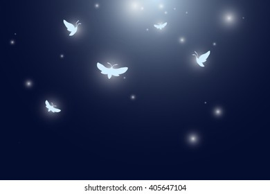 moths flying at night vector