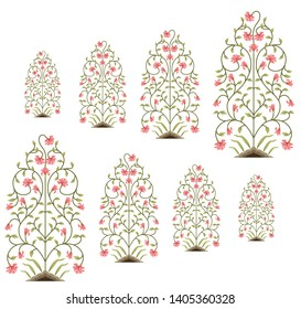 motif pattern mughal floral  pattern on white