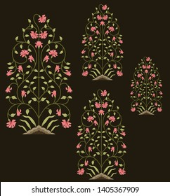 motif pattern mughal floral  pattern on brown