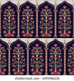 motif pattern mughal floral on navy background