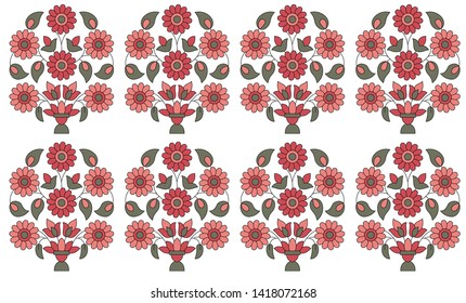 motif pattern mughal flower on white background