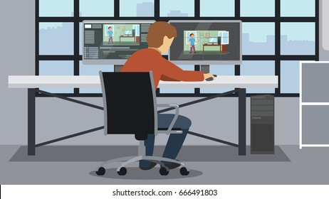 Motion designer workspace. Designer using work station to create animated explainer video.