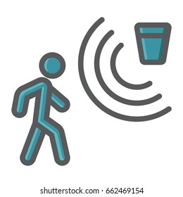 Motion detector colorful line icon, security and guard, vector graphics, a filled pattern on a white background, eps 10.