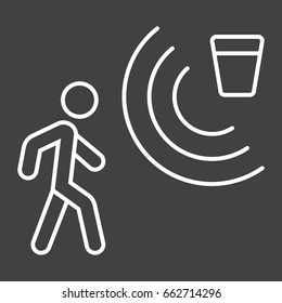 Motion detector line icon, security and guard, vector graphics, a linear pattern on a black background, eps 10.