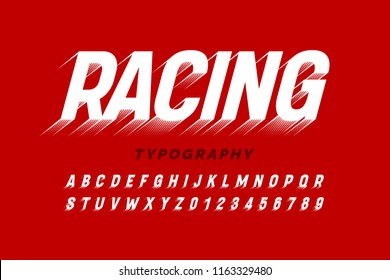 Motion effect font design, speedy style alphabet letters and numbers vector illustration