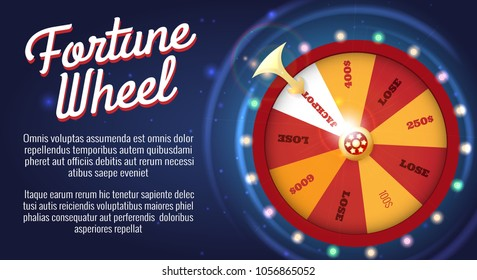 Motion fortune wheel poster. Wheel of fortune banner, roulette or lottery game for bankrupt or success opportunity vector illustration