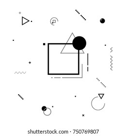 Motion graphics black and white elements. Vector illustration background. Geometric figures