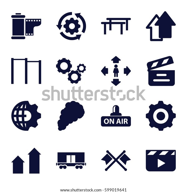 motion icons set. Set of 16 motion filled icons such as arrow up, man move, cargo wagon, movie clapper, open air, camera tape, smoke, gear, gear    sign symb, crossed flags