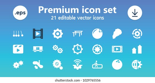 Motion icons. set of 21 editable filled motion icons includes escalator down, arrow up, bowling ball, movie tape, horizontal bar, gear rotate, gear connection, cargo wagon