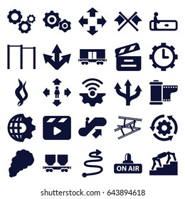 Motion icons set. set of 25 motion filled icons such as escalator, escalator up, man move, cargo wagon, movie clapper, open air, clock in gear, camera tape, smoke, gear