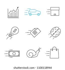Motion linear icons set. Speed. Chart, snail, car, flying parcel, file, dollar, brain, idea, fast shopping. Thin line contour symbols. Isolated vector outline illustrations