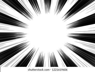 Motion lines background for comic books. Manga speed frame, superhero action, explosion, sunshine background. Black and white vector illustration