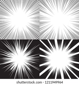 Motion lines backgrounds for comic books. Manga speed frame, superhero action, explosion background. Black and white vector illustration