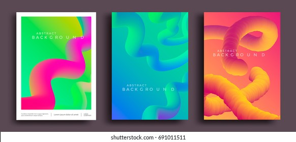 Motion liquid shapes for trendy gradient covers. Modern color abstract background. Vector