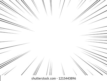 Motion radial lines background for comic books. Manga speed frame, superhero action, explosion background. Black and white vector illustration