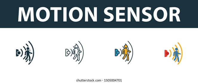 Motion Sensor icon set. Four elements in diferent styles from smart home icons collection. Creative motion sensor icons filled, outline, colored and flat symbols.