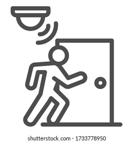 Motion sensor with walking man near door line icon, smart home symbol, guard motion detection vector sign on white background, thief burglar alarm device icon outline style. Vector graphics