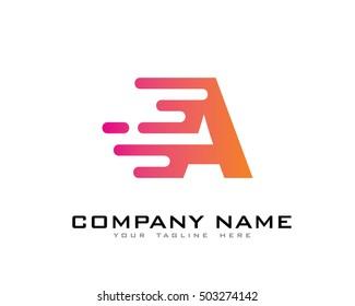 Motion Speed Line Letter A Logo Design Template Element