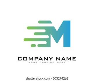 Motion Speed Line Letter M Logo Design Template Element