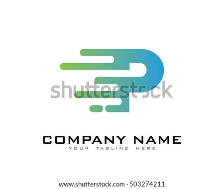 motion speed line letter p logo のベクター画像素材 ロイヤリティ
