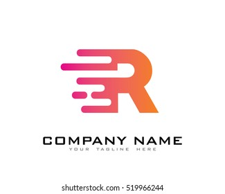 Motion Speed Line Letter R Logo Design Template Element