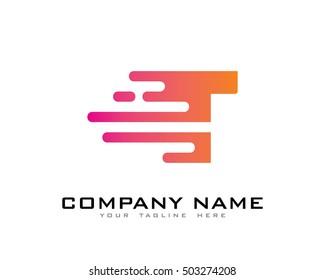 Motion Speed Line Letter T Logo Design Template Element