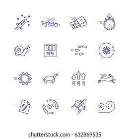 Motion and speed linear icons. Slow and fast vector signs