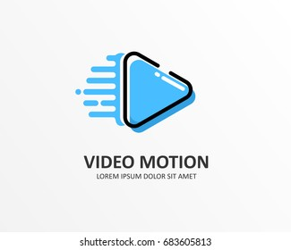 Motion video, Media Play Pixel logo design template element.