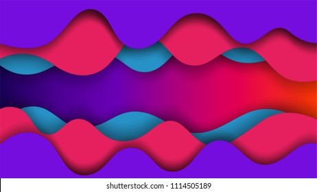 motion wave abstract pattern vector background paper cut style