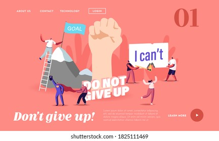 Motivation and Aspiration Landing Page Template. Tiny Characters Overcome Obstacles, Climbing on Rock, Goal Achievement, Take New Heights. Human Inner Resources. Cartoon People Vector Illustration