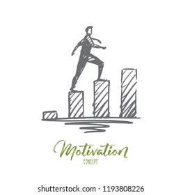 Motivation, business, success, career, progress concept. Hand drawn man climbs the stairs concept sketch. Isolated vector illustration.